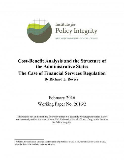 Cost-Benefit Analysis and the Structure of the Administrative State Cover