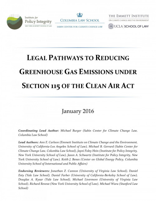 Legal Pathways to Reducing Greenhouse Gas Emissions Under Section 115 of the Clean Air Act