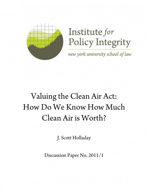 Valuing the Clean Air Act Cover