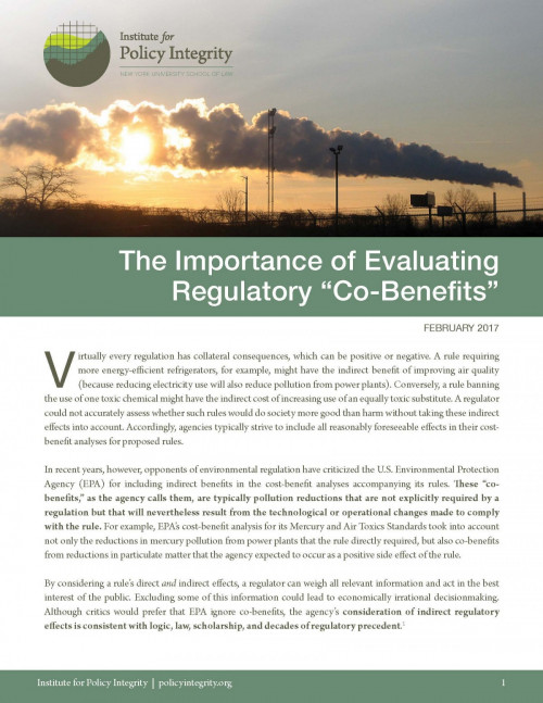 "The Importance of Evaluating Regulatory ""Co-Benefits"""