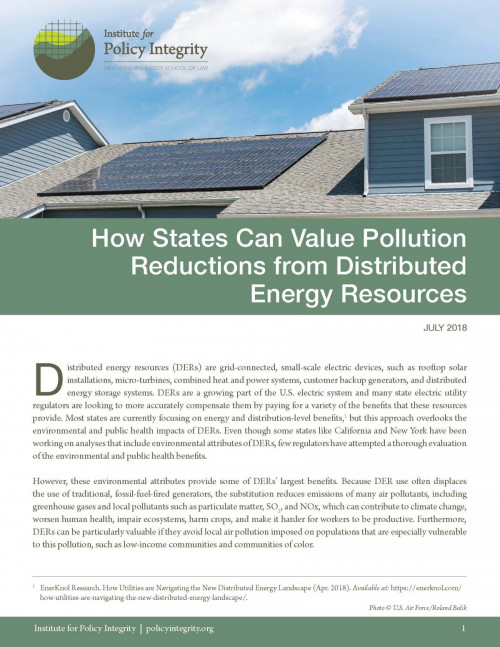 How States Can Value Pollution Reductions from Distributed Energy Resources