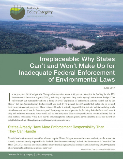 Irreplaceable: Why States Can't Make Up for Inadequate Federal Enforcement of Environmental Laws