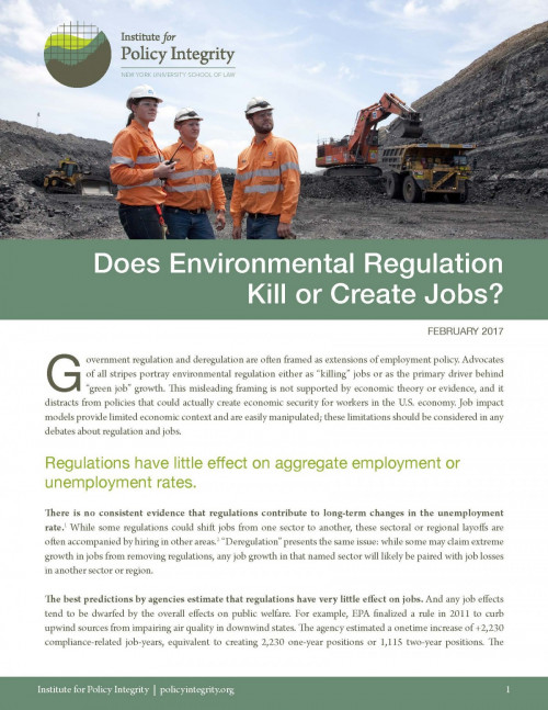 Does Environmental Regulation Kill or Create Jobs?