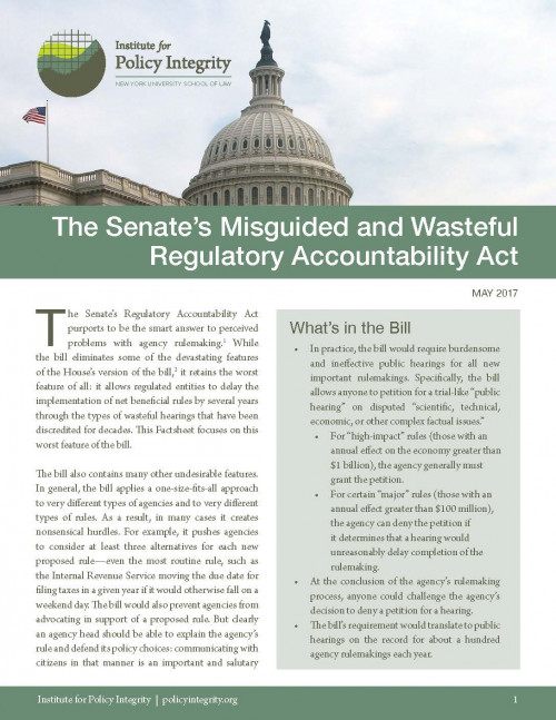 The Senate's Misguided and Wasteful Regulatory Accountability Act