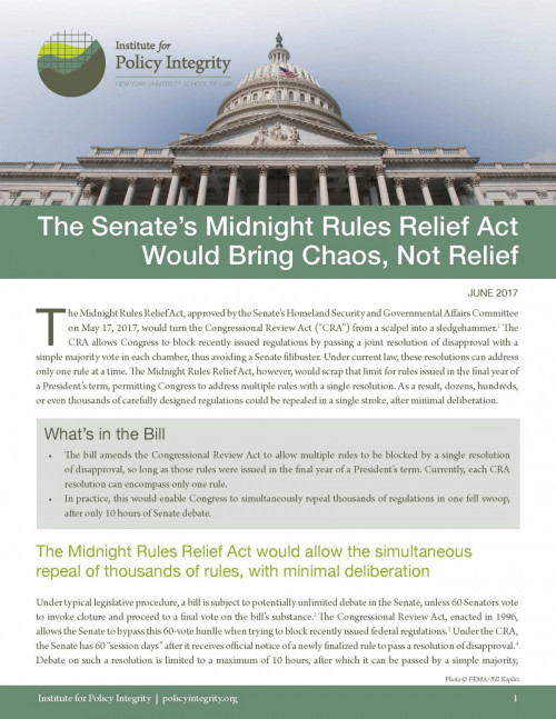 The Senate's Midnight Rules Relief Act Would Bring Chaos, Not Relief