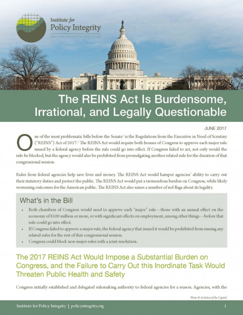 The REINS Act Is Burdensome, Irrational, and Legally Questionable