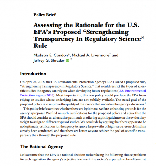 Assessing the Rationale for the EPA's Proposed Regulatory Science Rule Cover