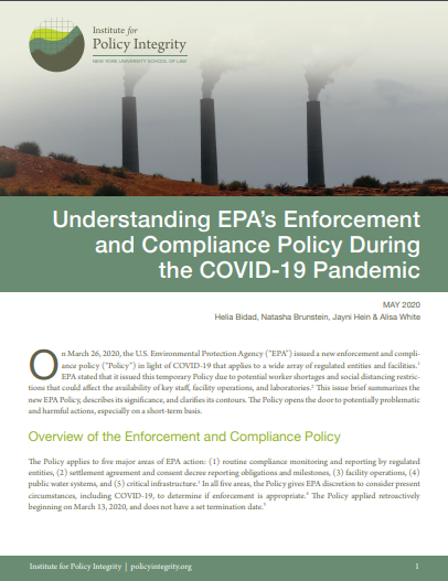 Understanding EPA's Enforcement and Compliance Policy During the COVID-19 Pandemic Cover