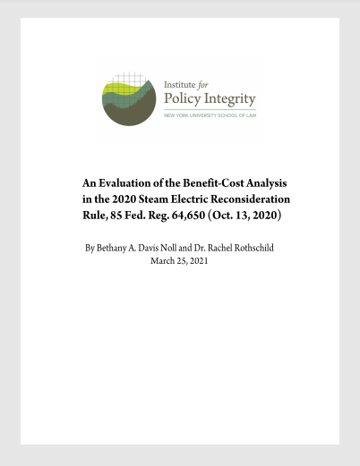 An Evaluation of the Benefit-Cost Analysis in the 2020 Steam Electric Reconsideration Rule Cover