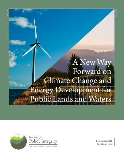 A New Way Forward on Climate Change and Energy Development for Public Lands and Waters Cover