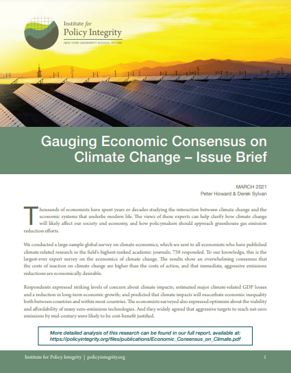 Gauging Economic Consensus on Climate Change – Issue Brief Cover